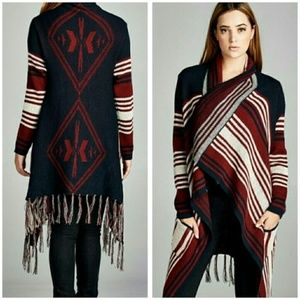 Velzera Poncho Red Blue White Large